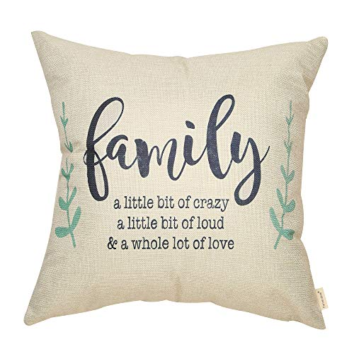 Fahrendom Rustic Family a Little Bit of Crazy a Little Bit of Loud a Whole Lot of Love Farmhouse Style Sign Cotton Linen Home Decorative Throw Pillow Case Cushion Cover for Sofa Couch, 18 x 18 in