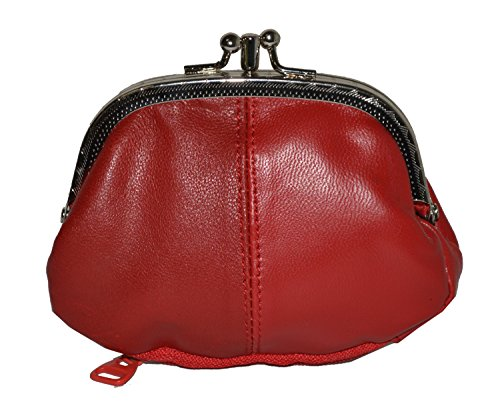Coin Purse Double Frame with Zipper Pocket (Red) ()