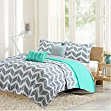 Intelligent Design Nadia Full/Queen Size Quilt Bedding Set - Teal, Chevron – 5 Piece Bedding Quilt Coverlets – Ultra Soft Microfiber Bed Quilts Quilted Coverlet