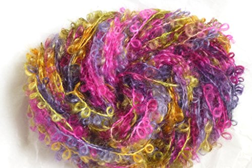 Caribbean Sunrise Multicolor Rose Yellow Blue Mohair Loopy Loop Boucle - Yellow Mohair