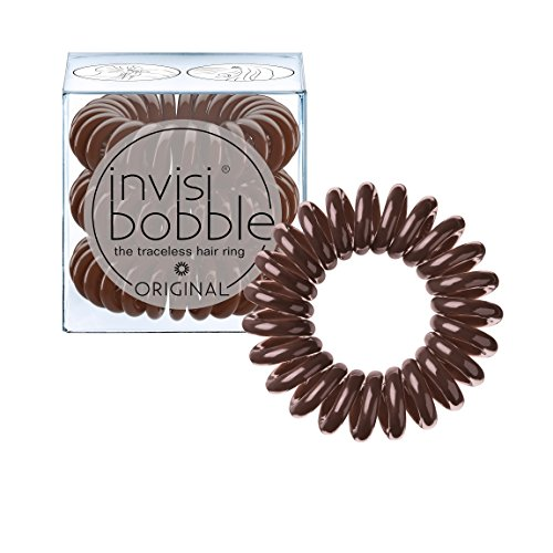 invisibobble ORIGINAL Pretzel Brown, the traceless and original spiral shaped hair ring, color: brown, 3 hair ties per (Spiral Resin)