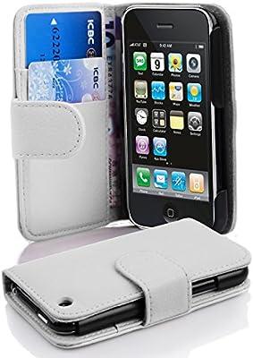 f3d92159cd1 Cadorabo Apple iPhone 3 / 3S / 3GS Funda de Cuero Sintético Estructura en  Blanco MAGNESIO