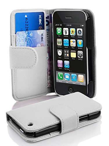 Cadorabo Case Works with Apple iPhone 3 / iPhone 3GS in Snow White (Design Book Structure) - with 2 Card Slots - Wallet Case Etui Cover Pouch Flip