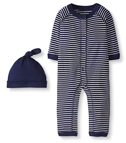Moon and Back by Hanna Andersson Baby Snap Front One-Piece Organic Cotton Long Sleeve Romper with Cap Set, Navy, 0-3 months