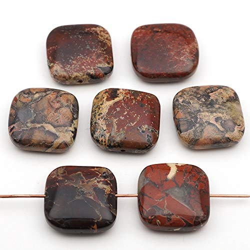 7 Pcs Flat Square Red and Black Brecciated Jasper Beads 18mm