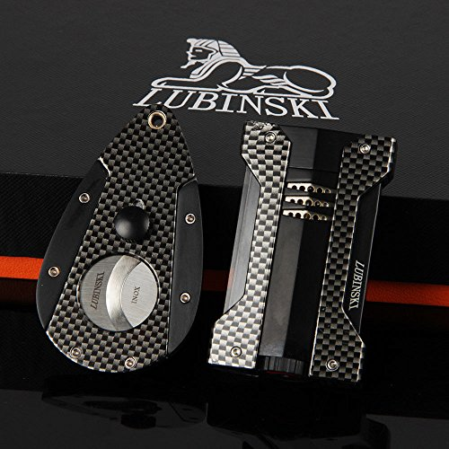 New LUBINSKI Carbon Fiber Style Cigar Lighter Cutter Scissor Set W/ Gift Box (Carbon Fiber Lighter Cigar)