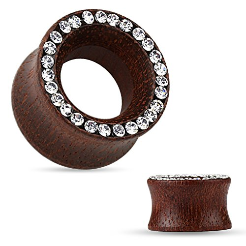 (Organic Rose Wood Double Flared Tunnel Ear Plugs Ear Gauges with Crystal Paved Rim - Sold As Pair (14mm - 9/16
