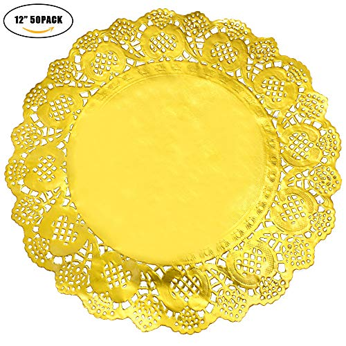 Heeler 40 Pcs Gold Lace Paper Doilies Gold Foil Oval Paper Doilies Cake Packaging Golden Paper Mat Doily 11.5 Inch