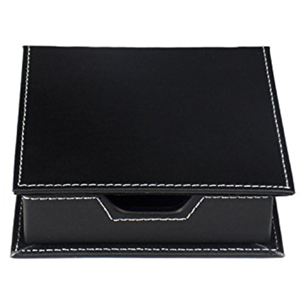 MyLifeUNIT PU Leather Square Notes Storage Holder Desktop Stationery Organizer For Business Card Office Suppliers (Black)
