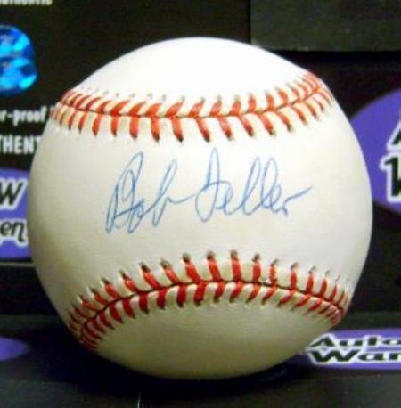 Signed Bob Feller Ball - OAMLB Hall of Famer World Series Champion toned yellowed - Autographed Baseballs