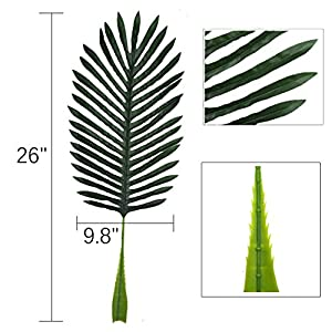 5 Pack Faux Fake Tropical Large Palm Leaves Artificial Palm Plants Leaves Imitation Leaf Artificial Plants for Home Party Wedding Decorations 2