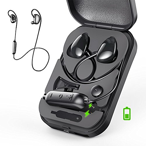 Bass Headphone Box (Bluetooth Headphones, VFAD Adjustable Bass Wireless 4.2 Earbuds with Mic Sweat Proof Running Headsets for Gym with Portable Power Box Sport Earphones)