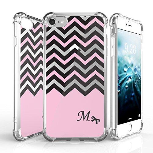 iPhone 7 Case, DuroCase AquaFlex 4 Corner Shockproof TPU Bumper w/ Hard Plastic Back Shield 2in1 Hybrid Case (Clear) For Apple iPhone 7 - (Black Pink White Chevron M)
