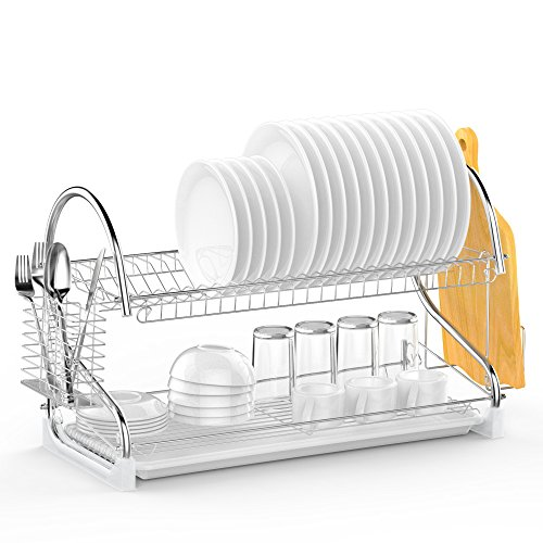Dish Rack, Ace Teah 2 Tier Dish Drying Rack and Drain Board