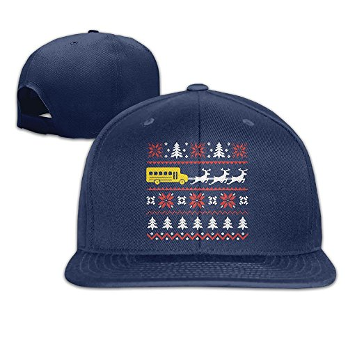 Yishuo Mens School Bus Driver - Holiday Ugly Sweater Classic Football Navy Cap Adjustable Snapback - Low Profile Fleece Watch Cap