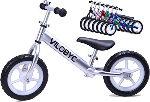 VILOBYC 12″ Anodised Aluminium Alloy Kids Push Ultralight Balance Bike (4.3 lbs) Child 18 Month to 5 Years Old Bicycle