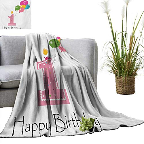Swaddle Blanket 1st Birthday,Baby Girl Toddler Party Candlestick with Colorful Balloons Print,Pale Pink and White Lightweight Extra Soft Skin Fabric Not Allergic 60