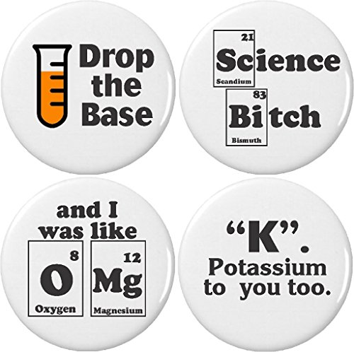 Set 4 Chemistry Science Lab Humor 2.25″ Large Magnets Periodic Table Elements