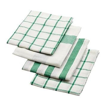 Ikea Elly - Paño de cocina, color blanco, verde/4 Pack/4 de Pack - 50 x 65 cm: Amazon.es: Hogar