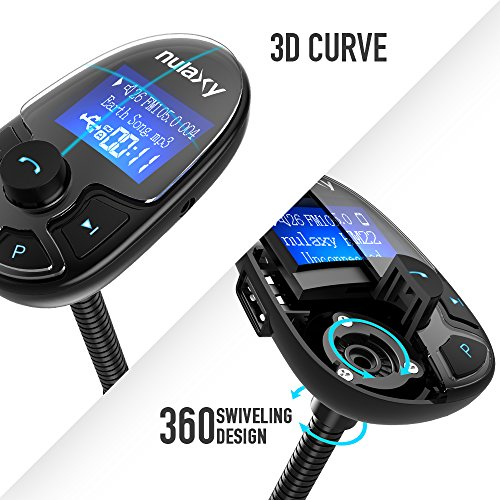 Nulaxy KM22 Bluetooth FM Transmitter Wireless In-Car Radio Adapter Car Kit with Power On/Off Button Shuffle Play and EQ Mode - 2018 Model