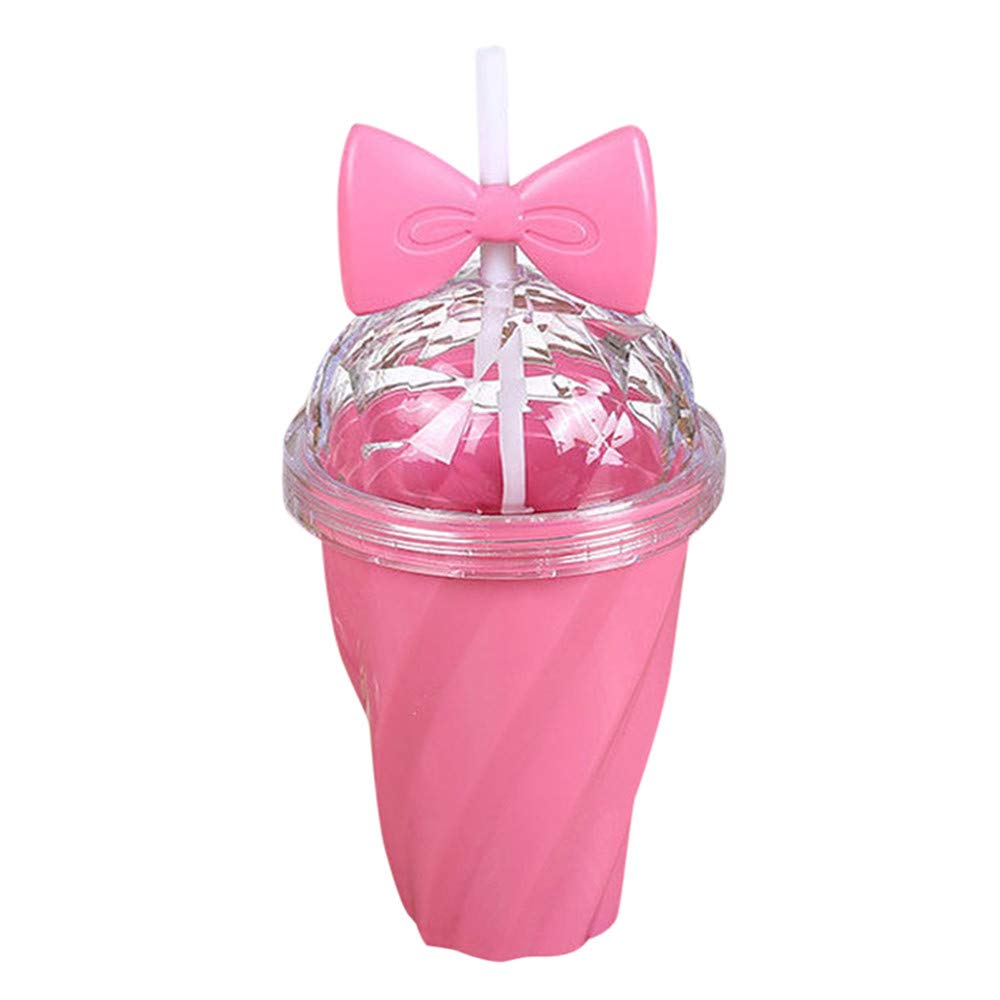 Creazy 400ML Lovely Straw Cup Cold Drink Cup Plastic with Bow Lid Straw Cup Bottle (Hot Pink)