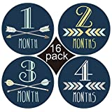 16 Pack of Baby Monthly Milestone Stickers - Best First Year Scrapbook Photo Keepsake and Shower Gift Stickers for Newborn Infant (Blue)