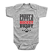 DADDY'S LITTLE HOCKEY BUDDY / Hockey Onesie Baby Outfits Unisex / Baffle Baby Onesies (Newborn, Grey Short Sleeve)
