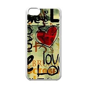 iPhone 5c Cell Phone Case White Love Written In Graffiti W4V4KB
