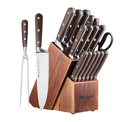 Alltripal Knife Set, 18 Piece Kitchen Knife Set with Carving Fork, Chef Knife Set With Premium Wengewood Handle German…