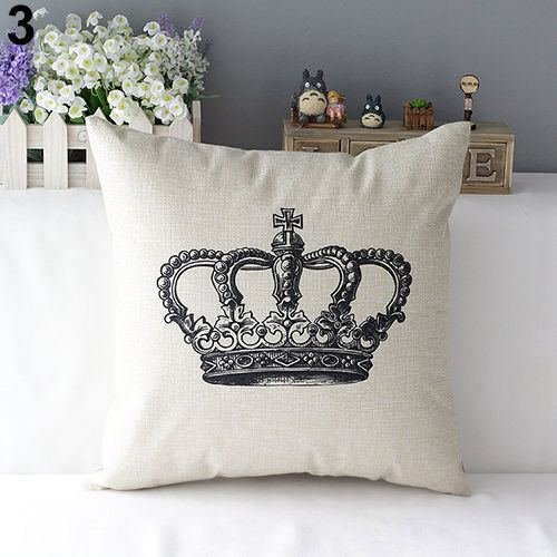 43cm Square Pillow Cushion Cover Letter Print Linen Pillowcase (Pattern 3) - 4