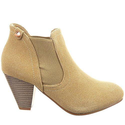 Sopily - Zapatillas de Moda Botines Chelsea Boots Low boots Tobillo mujer acabado costura pespunte Talón Tacón embudo 7.5 CM - Beige