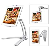 Bingxue Kitchen iPad Tablet Mount Stand,for Wall/Desktop/Countertop Mount Recipe Holder,for iPad Mini/iPad Air/Pro 10.5/9.7/Galaxy Tab/Nexus/Surface Pro 1,2 with 5.0 to 7.5 Inches Width Tablets/iPads