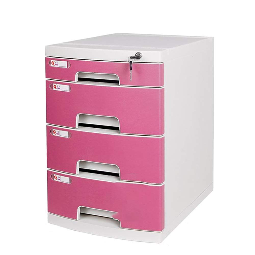 RRH-Office Desk File Cabinet, Lockable Drawer Type Household Data Cabinet, 4-Layer Drawer Type A4 File Storage Box for Office Use (Color : Pink) by RRH