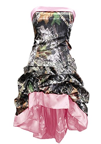Sexy Camo Dress With Star Appliques (Snowskite Womens Strapless Short High Low Camo Cocktail Party Prom Dress Pink 26)