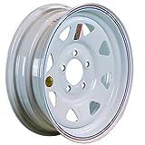 "Automotive : Arcwheel White Spoke Steel Trailer Wheel - 15"" x 5"" Rim - 5 on 4.5 1,870lb Capacity"