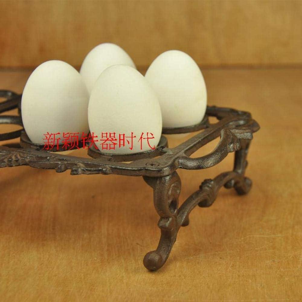 HDOUBR Bandeja de huevos de hierro fundido de estilo europeo huevera creativa cl/ásica caja de almacenamiento de huevos teppanyaki estante de huevo placa decoraci/ón herramientas de cocina