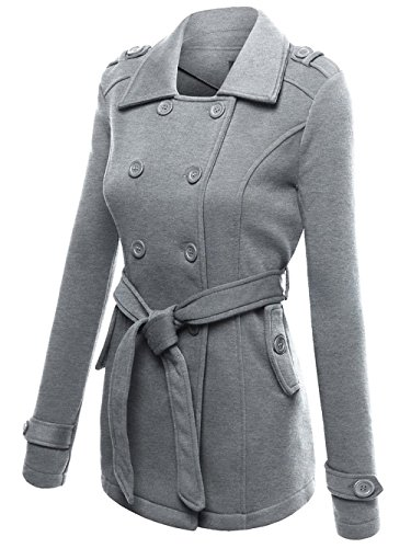 Belted Mid Length Coat - Women Double Breasted Hoodie Belted Pea Coat Long Sleeve Mid-length Jacket (Grey, M)