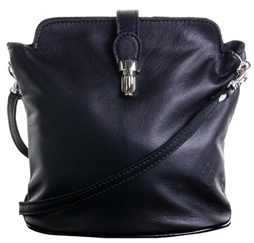 Primo Sacchi Italian Soft Leather Hand Made Small Black Cross Body or Shoulder Bag Handbag