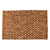 Teak Non Slip Bath Mat, Mold Resistant Bath Mat, Foldable Indoor/Outdoor Teak Bath Mat, Teak Shower Mat