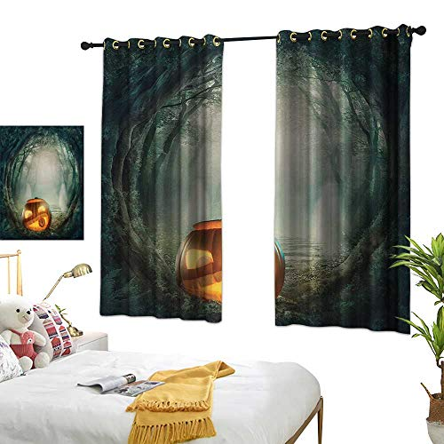LsWOW Bedroom Curtains W55 x L45 Halloween,Drawing of Scary Halloween Pumpkin Enchanted Forest Mystic Twilight Party Art,Orange Teal Design Curtains Home Furnishings Decor -