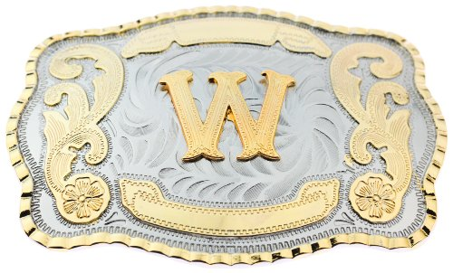 Initial Letters Western Style Cowboy Rodeo Gold Large Belt Buckles (Large Square, W LETTER)