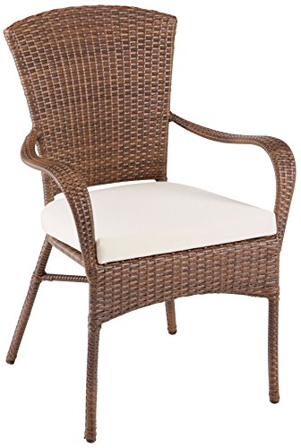 (Panama Jack PJO-7001-ATQ-AC Key Biscayne Stackable Woven Armchair with Cushion, Sunbrella Spectrum Graphite)