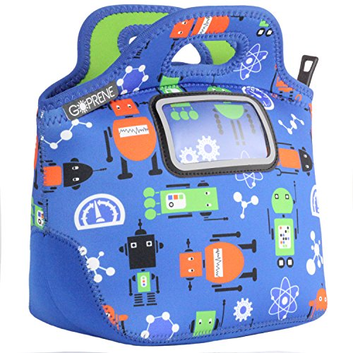 Robot Lunch Bag for Kids | with Name Label Pocket | Insulated Neoprene Tote | by GOPRENE