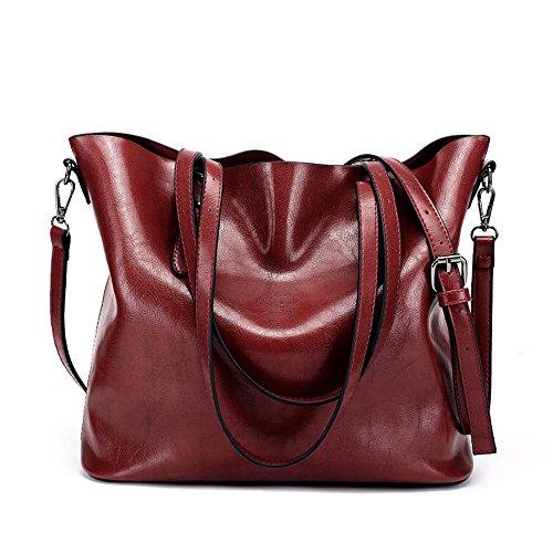 Couleur pour bandoulière Pu en Sumferkyh Rouge Sac en Messenger ordinateur souple cuir sacs Marron avec portable Bag wxTvv1qI6