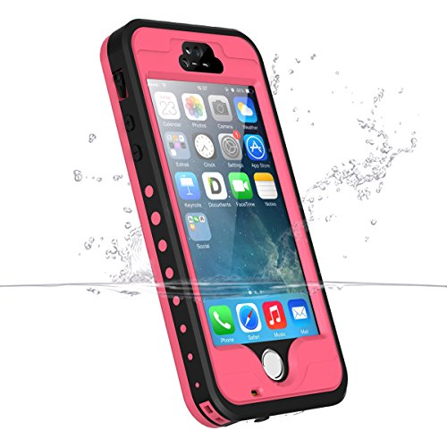 Price comparison product image iPhone 5S/5/se Waterproof Case, iThrough Underwater, Dust Proof,Snow Proof,Shockproof Case with Transparent Screen, Heavy Duty Protective Carrying Cover Case With 3.5mm AUX Cable for iPhone 5/5s(Pink)