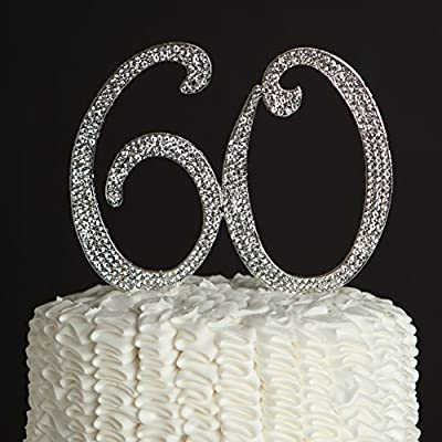60 Cake Topper for 60th Birthday or Anniversary - Gold Rhinestone Party Supplies & Decoration Ideas