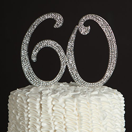 60 Cake Topper for 60th Birthday or Anniversary Silver Party Supplies Decoration Ideas