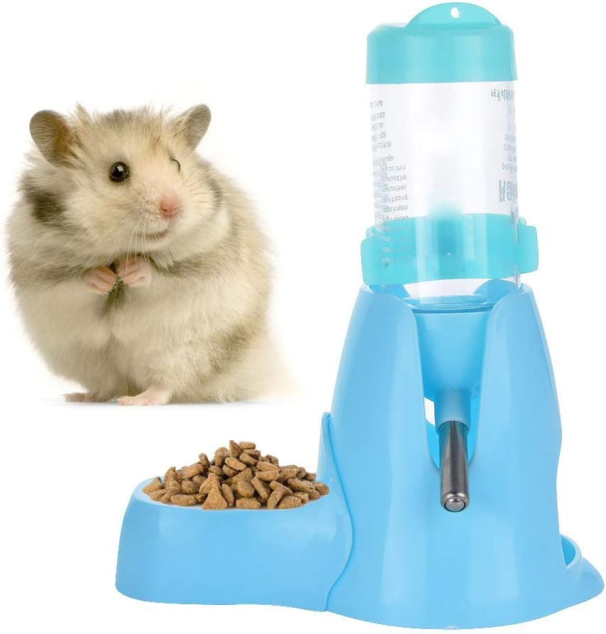 Hamster Water Bottle Little Pet Automatic Drinking Bottle Hanging Water Feeding Auto Dispenser with Food Container Base Hut Hanging for Small Ferrets Rabbit Gerbil