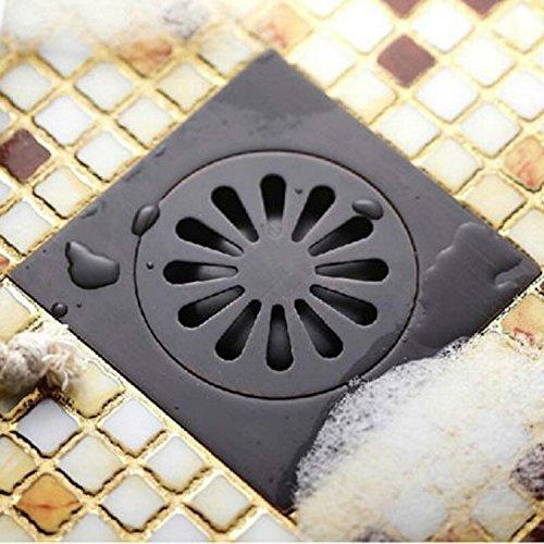 Votamuta Oil Rubbed Bronze Anti-odor Floor Drain Anti-odor Core Bathroom Hardware Square Bathroom Shower Floor Drain 10 x 10cm
