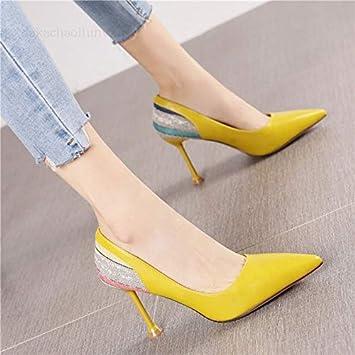 edc7dc39a3adfd Yukun Talons hauts Cale Chaussures Simples Printemps Et Automne Arc Pointu  Femelle PU Talons Hauts Confortable